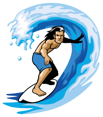 surfer enjoying the barrel wave Иллюстрация