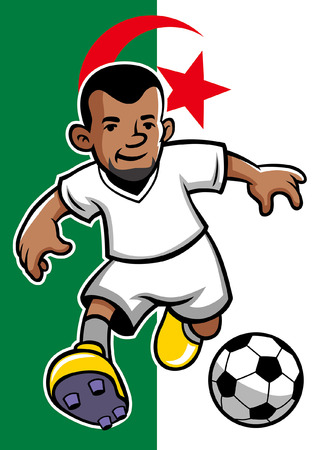 algeria soccer player with flag background