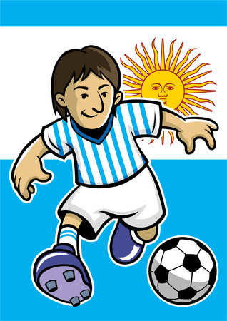 argentina soccer player with flag background Stock Vector - 117122967