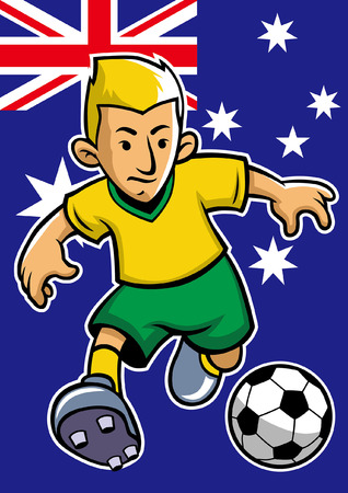 australia soccer player with flag background