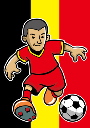 belgium soccer player with flag background Illustration