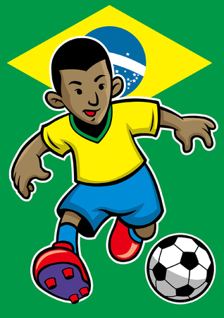 brazil soccer player with flag background