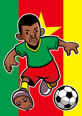 cameroon soccer player with flag background Stock Vector - 117122973