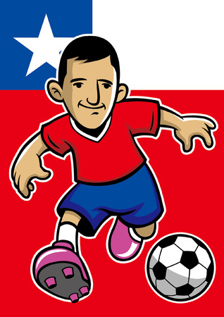 chile soccer player with flag background