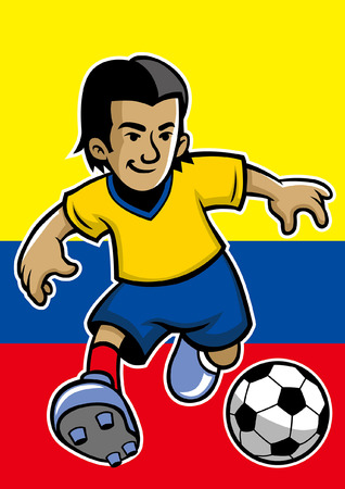 colombia soccer player with flag background Foto de archivo - 117122976