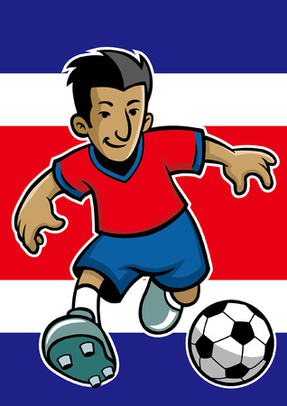 costa rica soccer player with flag background  イラスト・ベクター素材