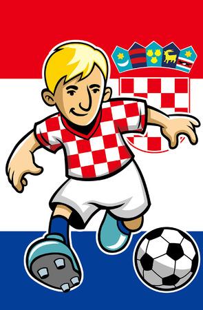 jugador de fútbol de croacia con fondo de bandera
