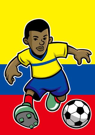 Colombia-voetballer met vlagachtergrond
