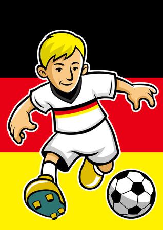 Jugador de fútbol de Alemania con fondo de bandera