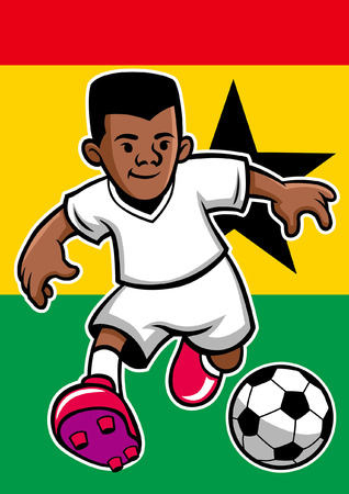 ghana soccer player with flag background