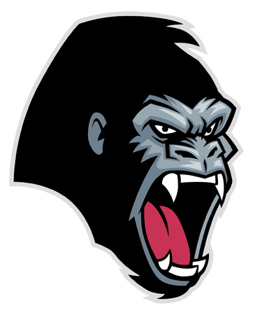 angry gorilla head Ilustração