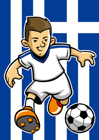 greece soccer player with flag background