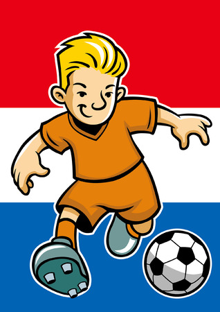 holland soccer player with flag background 版權商用圖片 - 117122990