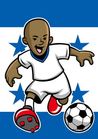 haiti soccer player with flag background  イラスト・ベクター素材
