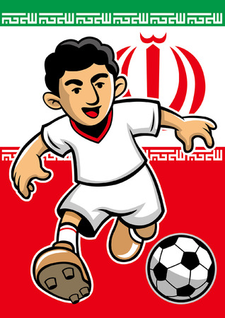 iran soccer player with flag background Illustration