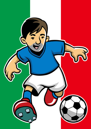 italy soccer player with flag background  イラスト・ベクター素材