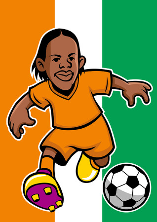 ivory coast soccer player with flag background Stock fotó - 117122995