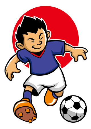 japan soccer player with flag background Illustration