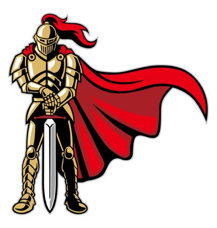 cavaliere guerriero con armatura e mantello Vettoriali