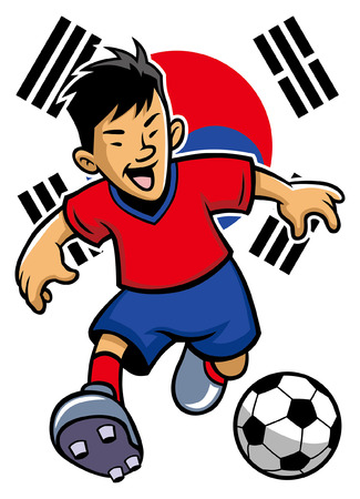 south korea soccer player with flag background