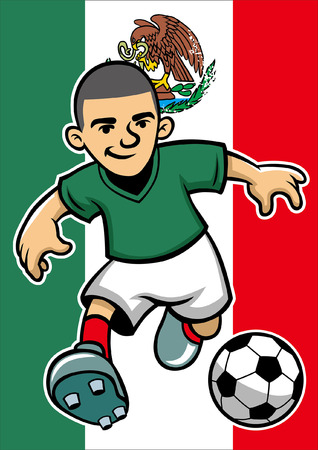 mexico soccer player with flag background Foto de archivo - 117123005