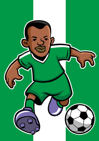 nigeria soccer player with flag background Illustration