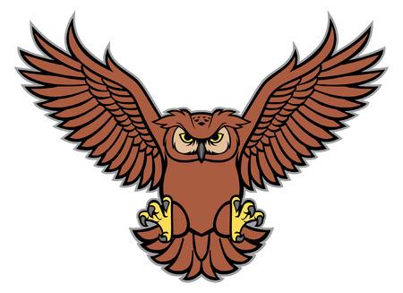 chouette mascotte déploie les ailes