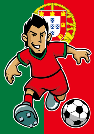portugal soccer player with flag background Illustration