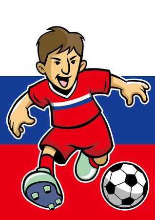 russia soccer player with flag background 向量圖像
