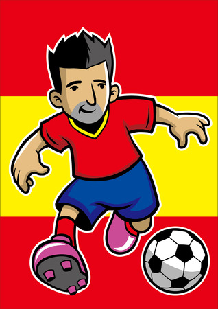 spain soccer player with flag background