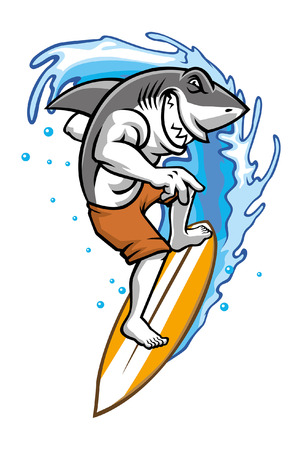 shark surfing mascot Banque d'images - 117123034
