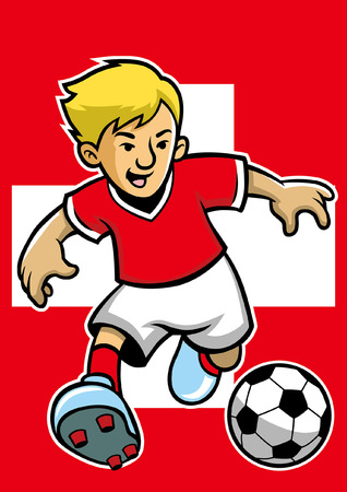 switzerland soccer player with flag background Illustration
