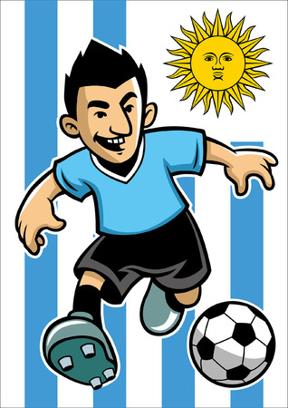 uruguay soccer player with flag background