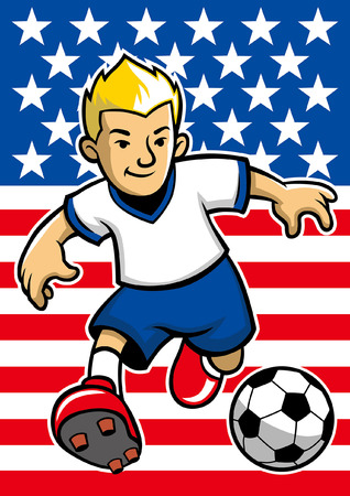 usa soccer player with flag background