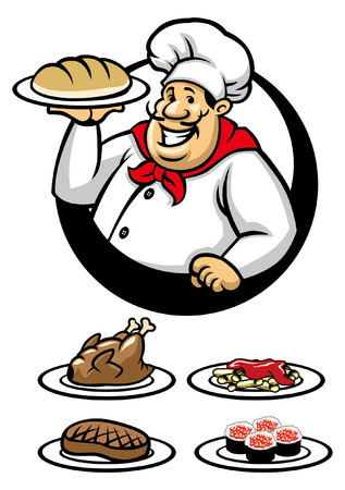 chef mascot with various type of meal Standard-Bild - 117123040