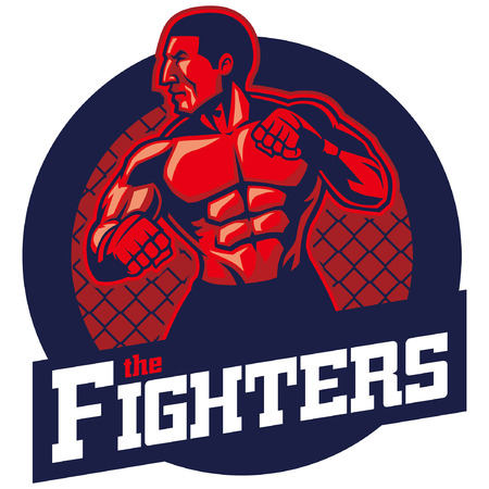 MMA fighter mascot badge Stock Illustratie