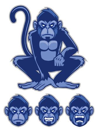 monkey mascot in set Illustration