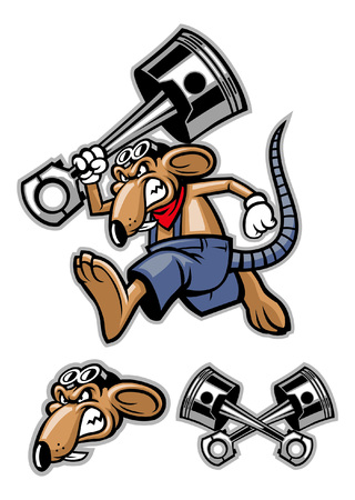 mascot set of rat holding the big piston