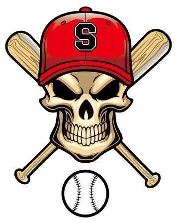skull baseball with crossing bat