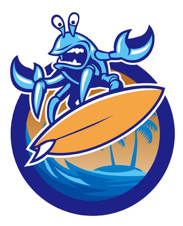 crab mascot of surfing