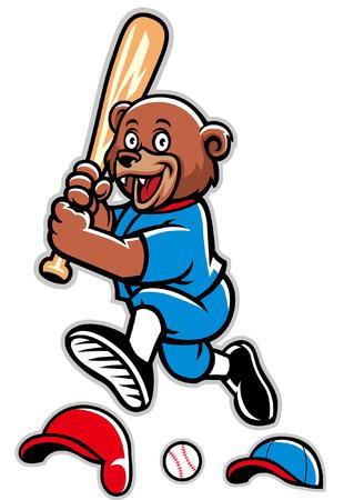 bear cub mascot of baseball 向量圖像
