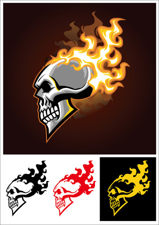 set of skull burning mascot Çizim