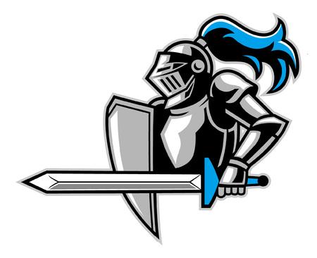 maskotka rycerza gotowa do ataku Ilustracje wektorowe
