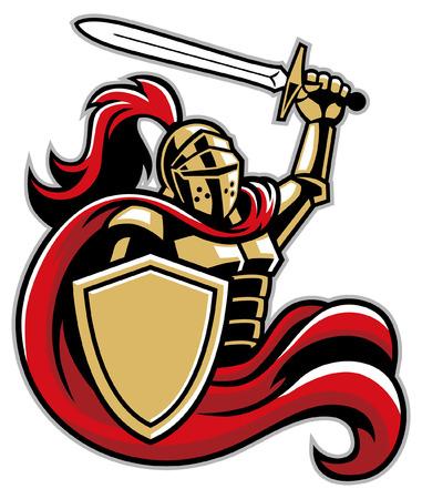 La mascota del caballero sostiene la espada y el escudo.