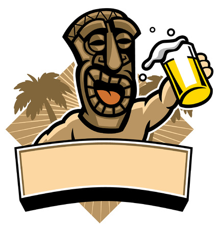 happy mascot of tiki hold the beer