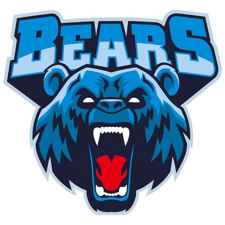 angry head mascot of bear