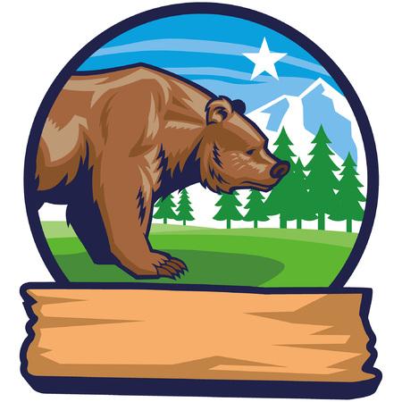 mascot of brown bead badge in nature Standard-Bild - 117123579