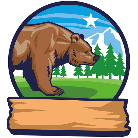 mascot of brown bead badge in nature Illustration