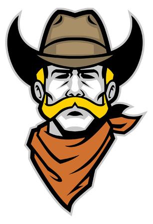 Kopfmaskottchen des Cowboys