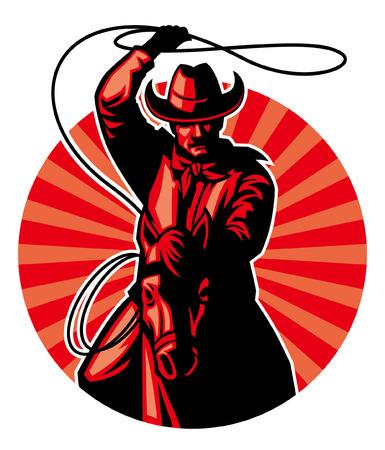 vaquero usando el lazo Ilustración de vector
